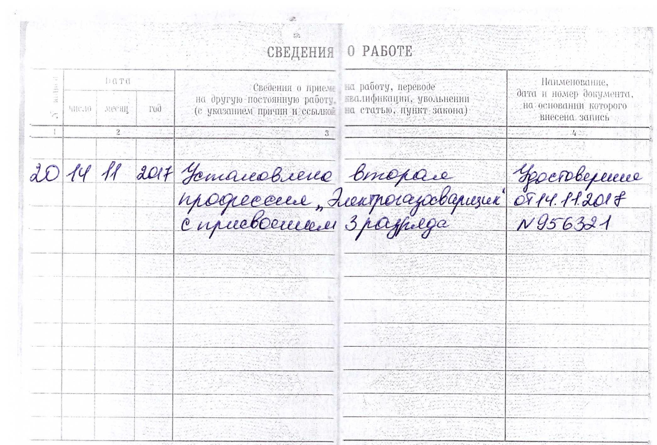 Заполнение трудовой книжки при приеме, переводе 100